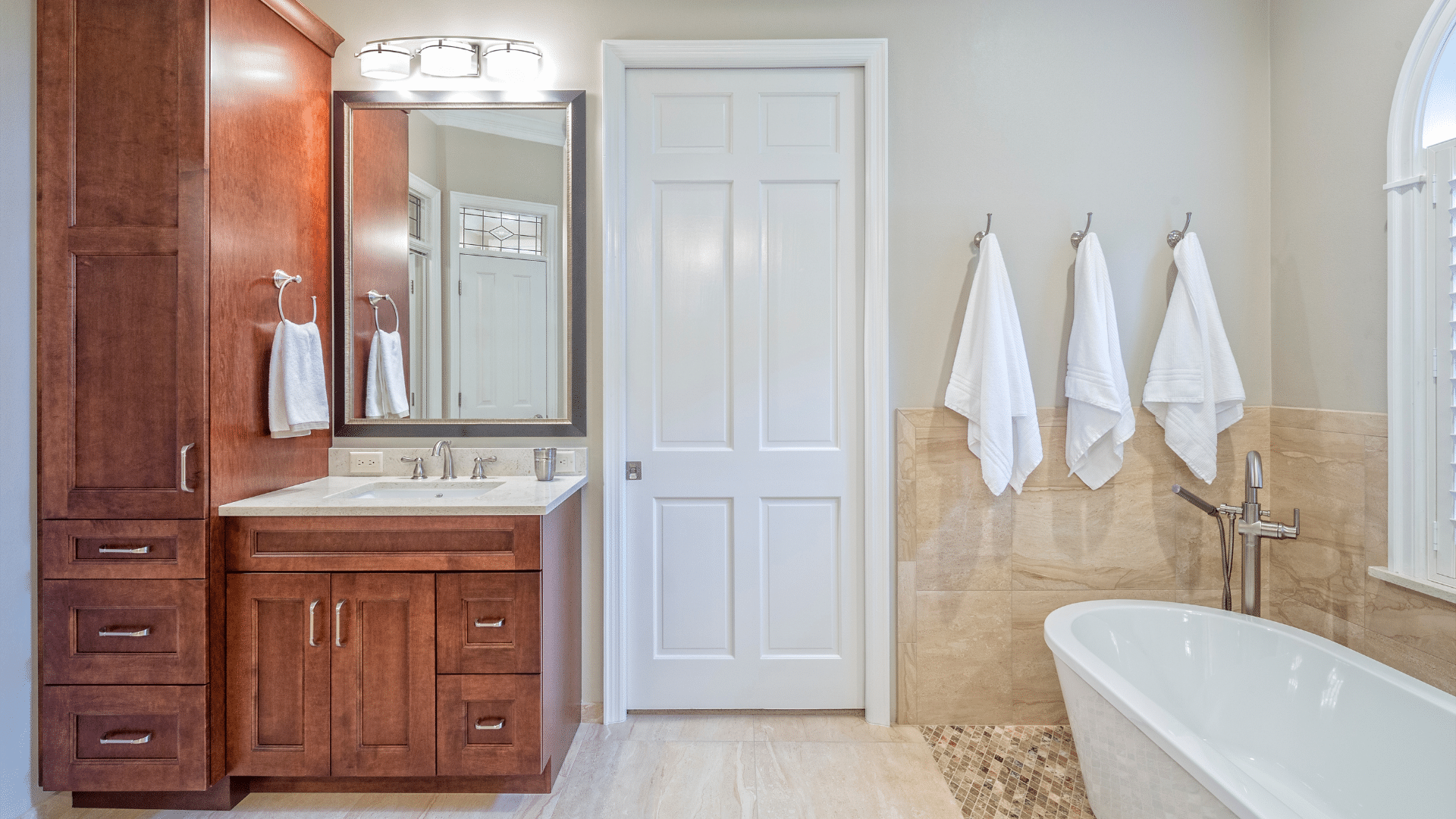 bathroom remodeling with wooden cabinets