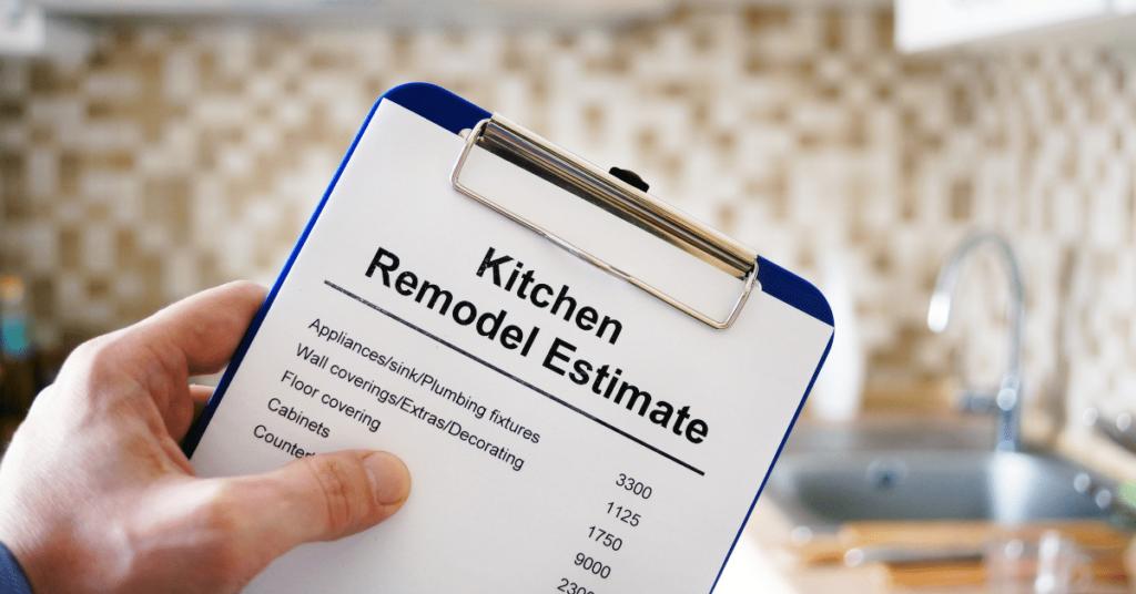 Kitchen remodeling Estimate on Clipboard